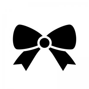 リボンの白黒シルエットイラスト05