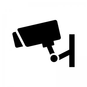 防犯・監視カメラの白黒シルエットイラスト