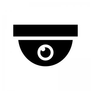 ドーム型の防犯・監視カメラの白黒シルエットイラスト