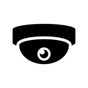 ドーム型の防犯監視カメラのシルエット02 無料のaipng白黒