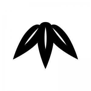 竹の葉の白黒シルエットイラスト