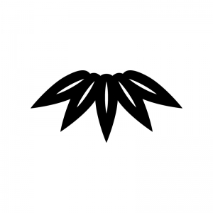 竹の葉の白黒シルエットイラスト02