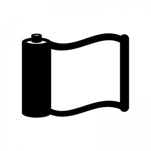 巻物の白黒シルエットイラスト02