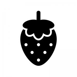 イチゴの白黒シルエットイラスト02