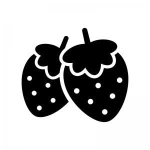 2つのイチゴの白黒シルエットイラスト