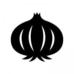 玉ねぎの白黒シルエットイラスト