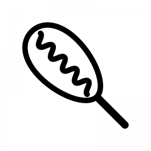 アメリカンドックの白黒シルエットイラスト