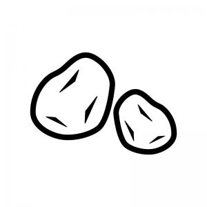 ジャガイモの白黒シルエットイラスト
