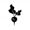 ラディッシュ(二十日大根)の白黒シルエットイラスト02