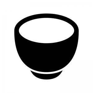お茶碗・丼の白黒シルエットイラスト