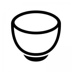 お茶碗・丼の白黒シルエットイラスト02