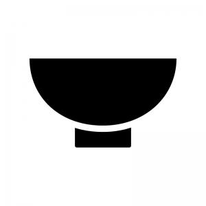 お茶碗の白黒シルエットイラスト