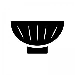 お茶碗の白黒シルエットイラスト02