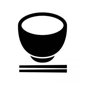 お茶碗とお箸の白黒シルエットイラスト