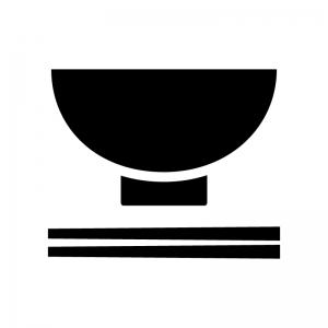 お茶碗とお箸の白黒シルエットイラスト02