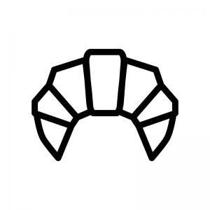クロワッサンの白黒シルエットイラスト