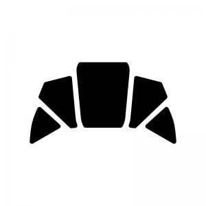 クロワッサンの白黒シルエットイラスト素材03