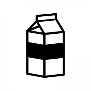 牛乳の白黒シルエットイラスト