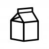 牛乳パックの白黒シルエットイラスト