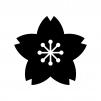 桜の白黒シルエットイラスト