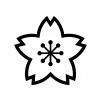 桜の白黒シルエットイラスト02