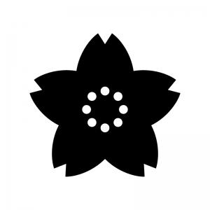 桜の白黒シルエットイラスト03