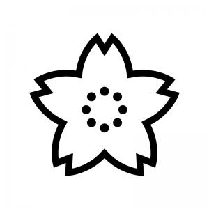 桜の白黒シルエットイラスト04