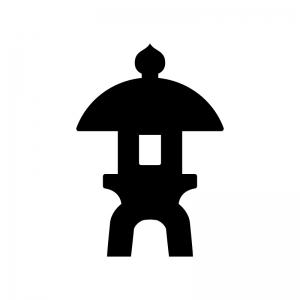 石灯篭の白黒シルエットイラスト