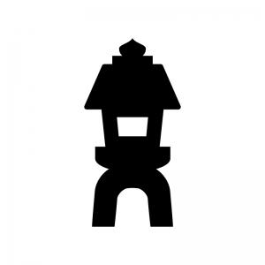 石灯篭の白黒シルエットイラスト02