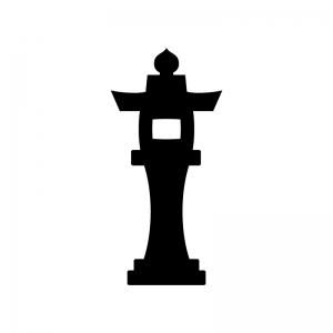 石灯篭の白黒シルエットイラスト03