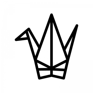 折り鶴の白黒シルエットイラスト