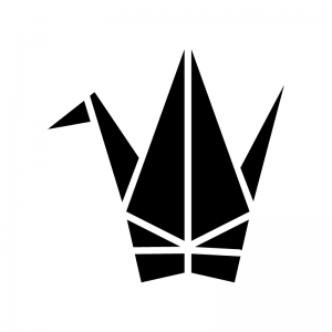 折り鶴の白黒シルエットイラスト02
