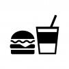 飲食マークの白黒シルエットイラスト