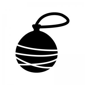 水風船の白黒シルエットイラスト