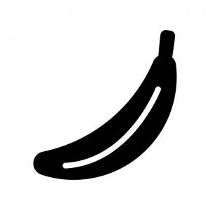 1本のバナナの白黒シルエットイラスト