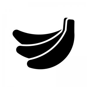 バナナの白黒シルエットイラスト02