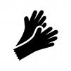 ゴム手袋の白黒シルエットイラスト