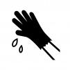 ゴム手袋で水洗いの白黒シルエットイラスト