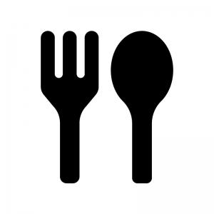 フォークとスプーンの食事マークの白黒シルエットイラスト