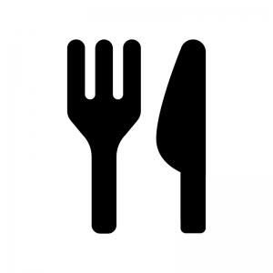 フォークとナイフの食事マークの白黒シルエットイラスト