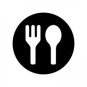 フォークとスプーンの食事マークの白黒シルエットイラスト02