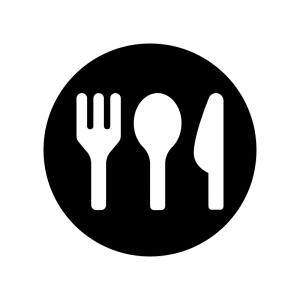 食事マークの白黒シルエットイラスト04