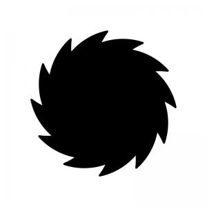 台風の白黒シルエットイラスト