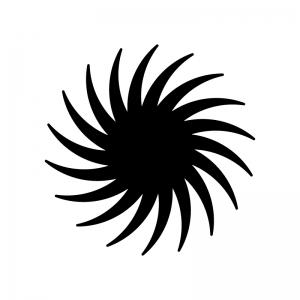 台風の白黒シルエットイラスト02