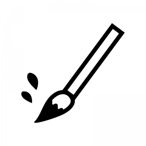 筆・習字の白黒シルエットイラスト02