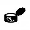 魚の缶詰の白黒シルエットイラスト