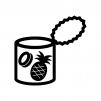 パイナップルの缶詰の白黒シルエットイラスト