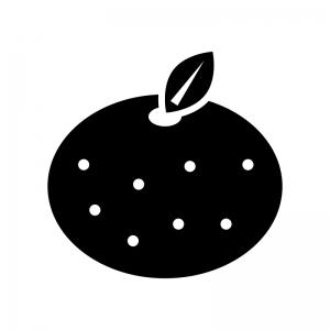みかんの白黒シルエットイラスト