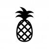 パイナップルの白黒シルエットイラスト
