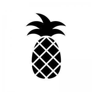 パイナップルの白黒シルエットイラスト02
